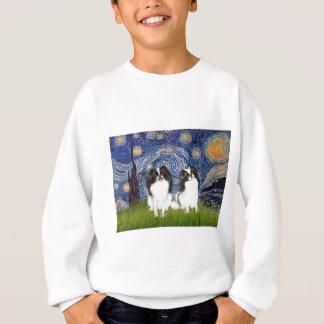 Sternenklare Nacht - zwei japanische Kinne (BW) Sweatshirt