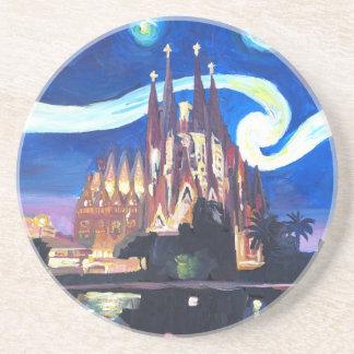 Sternenklare Nächte in Sagrada Familia in Untersetzer