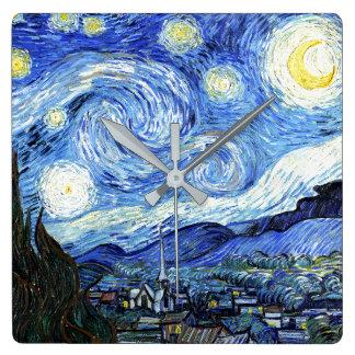 Sternenklare Nachtimpressionismus-Kunst-Wanduhr Quadratische Wanduhr