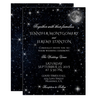 Sternenklare Nachtmond-Hochzeits-Einladung Karte