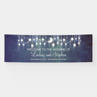 Sternenklare Nachtmond-und -stern-blaue Hochzeit Banner