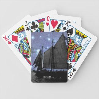 sternenklare NachtozeanseeSegelschiff-Segelboot Bicycle Spielkarten