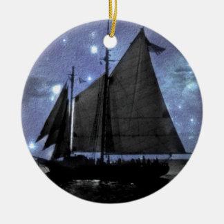 sternenklare NachtozeanseeSegelschiff-Segelboot Rundes Keramik Ornament