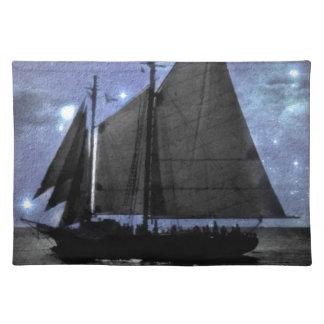 sternenklare NachtozeanseeSegelschiff-Segelboot Tischset