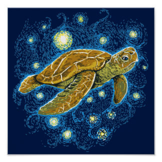 Sternenklare Nachtschildkröte Poster