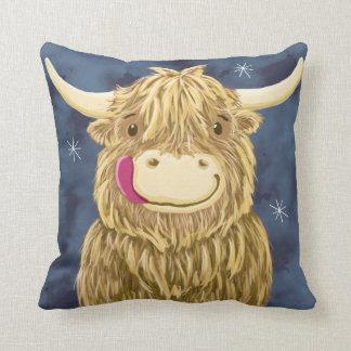 Sternenklare Nachtschottische Hochland-Kuh Zierkissen