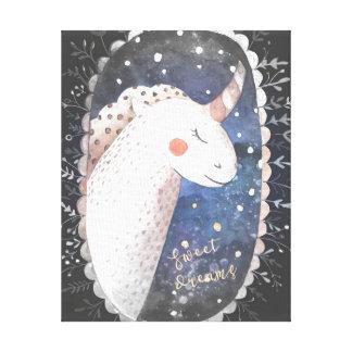 Sternenklare Nachtsüße Traum-Einhorn Leinwanddruck