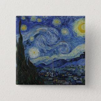 Sternenklare NachtVincent van Gogh-Malen Quadratischer Button 5,1 Cm