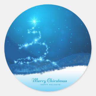 Sternenklarer Weihnachtsbaum Runder Aufkleber