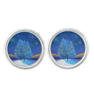 Sternenklares Van- Goghart-Blau-Weihnachten Manschettenknöpfe