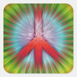 Sternexplosion-Friedenszeichen Quadratischer Aufkleber
