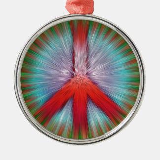 Sternexplosion-Friedenszeichen Silbernes Ornament