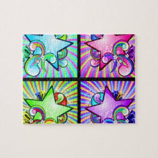 Sternexplosion-Kaleidoskop der Regenbogen-Farben Puzzle