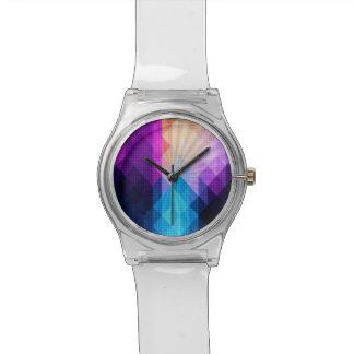 Sternexplosion-lila u. blauer Diamant-Entwurf Armbanduhr