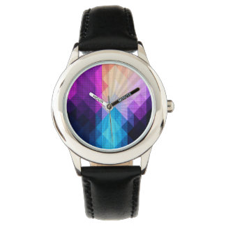 Sternexplosion-lila u. blauer Diamant-Entwurf Uhr