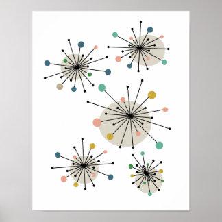 Sternexplosion-Mitte- des Jahrhundertsmodernes Poster