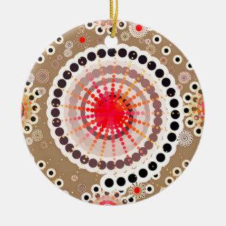 Sternexplosionen und Pinwheels, Taupe, Rot, weiß Keramik Ornament