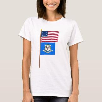 Sternflagge US 13 auf Pfosten mit Connecticut T-Shirt