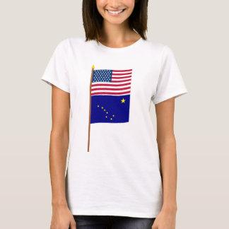 Sternflagge US 49 auf Pfosten mit Alaska T-Shirt