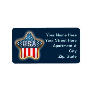 Sternförmige US-Flagge Adressaufkleber