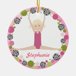 Sterngymnast-blonde Pony-Schwänze in den Rosa Rundes Keramik Ornament