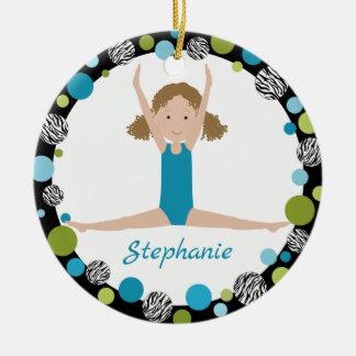 Sterngymnast-gelocktes Haar im Aqua und im Grün Rundes Keramik Ornament