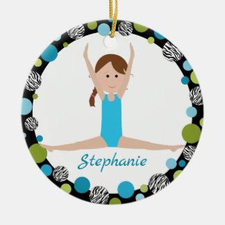 SternGymnast mit Brown-Borte im Aqua und im Grün Rundes Keramik Ornament
