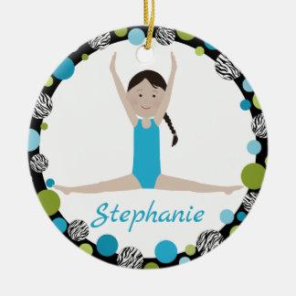 Sterngymnast-Schwarz-Zopf im Aqua und im Grün Rundes Keramik Ornament