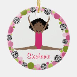 Sterngymnast-schwarzes Haar in den Rosa Rundes Keramik Ornament