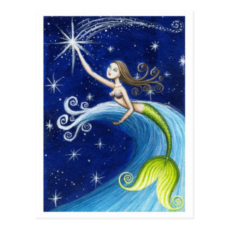 Sternschnuppen-Meerjungfrau Postkarte