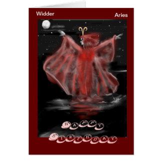 Sternzeichen Widder,Aries  Geburtstagskarte Karte