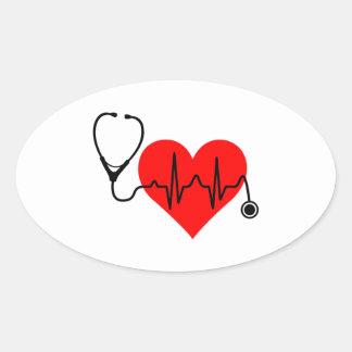 Stethoskop-Herzschlag-Herz Ovaler Aufkleber