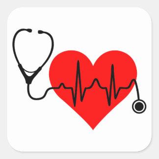 Stethoskop-Herzschlag-Herz Quadratischer Aufkleber