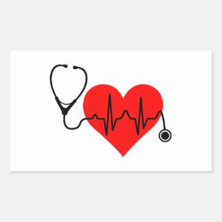 Stethoskop-Herzschlag-Herz Rechteckiger Aufkleber