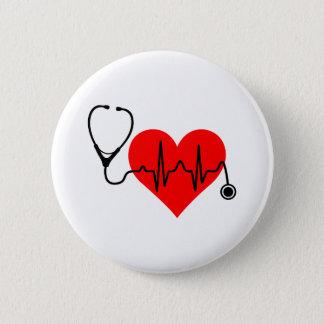 Stethoskop-Herzschlag-Herz Runder Button 5,1 Cm
