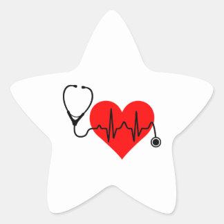 Stethoskop-Herzschlag-Herz Stern-Aufkleber