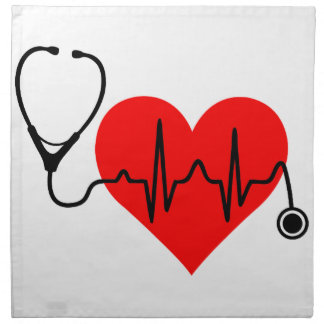 Stethoskop-Herzschlag-Herz Stoffserviette