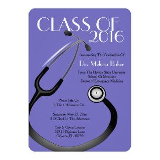 Stethoskop-medizinische SchulAbschluss-Mitteilung 12,7 X 17,8 Cm Einladungskarte