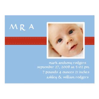 Stich-Monogramm-Jungen-Foto-Geburts-Mitteilung Postkarte