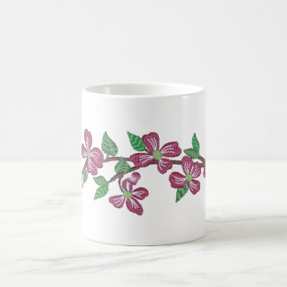 Stickerei-Art-Rosa-Hartriegel Kaffeetasse
