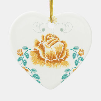 Stickerei-gelbe Rosen-Verzierung Keramik Ornament