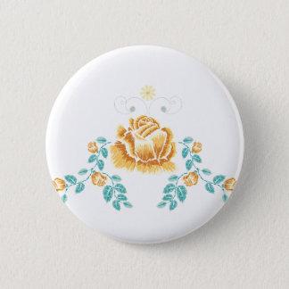 Stickerei-gelbe Rosen-Verzierung Runder Button 5,1 Cm