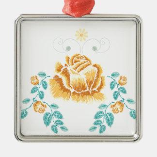 Stickerei-gelbe Rosen-Verzierung Silbernes Ornament