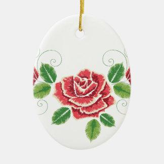 Stickerei-Rosen-Verzierung Keramik Ornament