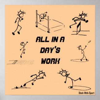 """Stickman Leichtathletik """"alle in der Arbeit eines Poster"""
