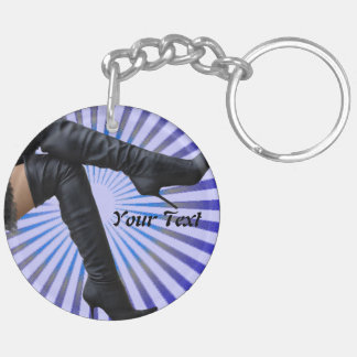 STIEFEL Kunst - (blauer Stern gesprengt) Beidseitiger Runder Acryl Schlüsselanhänger