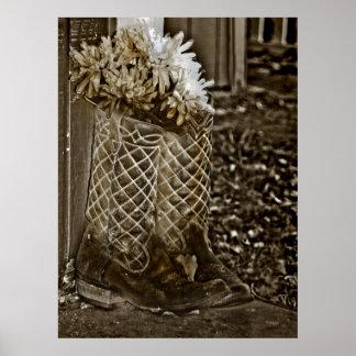 Stiefel mit Blumen Plakatdrucke