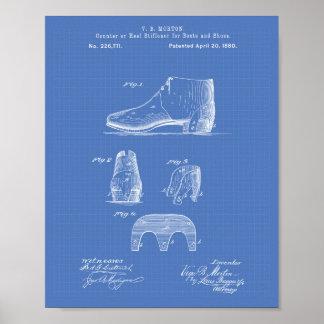 Stiefel und Patent-Kunst-Plan der Schuh-1880 Poster