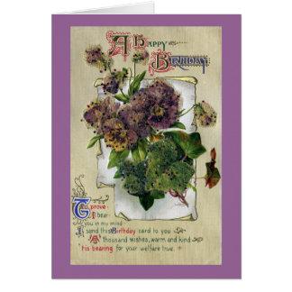 Stiefmütterchen und Efeu-Vintager Geburtstag Karte