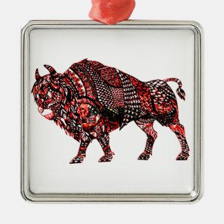 Stier 2 quadratisches silberfarbenes ornament